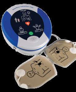 HeartSine Samaritan PAD Machine with Adult Defibrillator Pads Connected