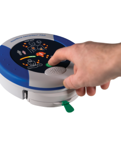 Person Turning on the HeartSine 500P Samaritan PAD Machine
