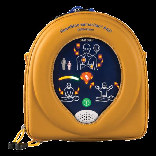 HeartSine Samaritan PAD device turned on in yellow portable case