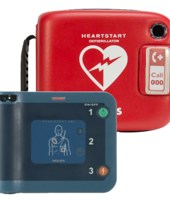 Philips Heart Start Defibrillator Machine With Red Case Posed Behind It