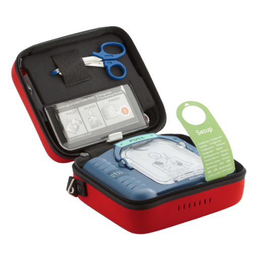 Philips HS1 Defibrillator Machine in Red Case with Pads