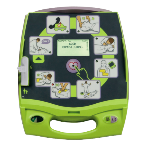 Zoll AED Plus Machine with Close Up Of Screen Interface