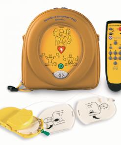 HeartSine Samaritan PAD in yellow case with remote and defibrillator pads