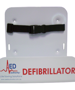 Front-On Picture Of The AED Authority White Wall Bracket for Defibrillator Machines