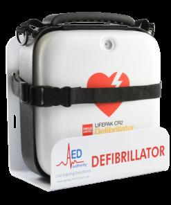 AED Authority White Wall Bracket With LifePak CR2 Defibrillator Machine In It