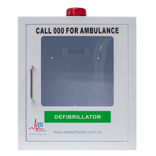 White empty alarm cabinet for defibrillator machine