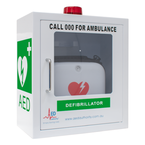 Empty Alarmed White AED Authority Cabinet for Defibrillator machines