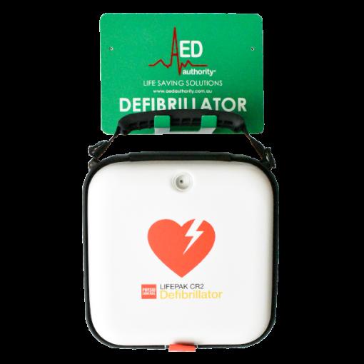 Green AED Authority Defibrillator Wall Bracket With Physio Control Lifepak CR2 Defibrillator