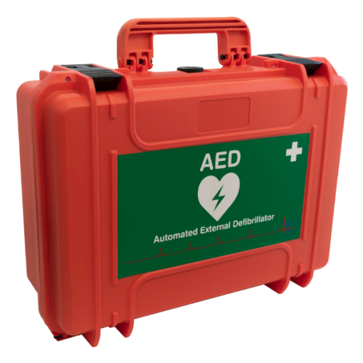 AUD Authority Branded Red Hard-Shell Defibrillator Case