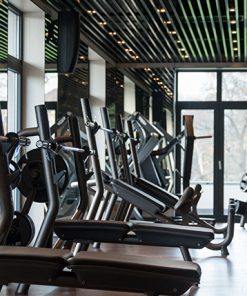 Modern Gym With Weight & Step Machines In A Row