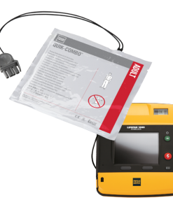 LifePak 1000 Professional Model with Adult Defibrillator Pads Laying On Top
