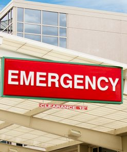 Outside Hospital Building Red and White Emergency Sign