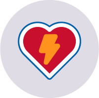 Red heart icon with yellow lightning bolt inside