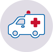 White Ambulance icon with red cross and siren